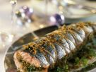 Weihnachtlicher Lachs mit Mandeln gefüllt Rezept