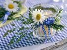 Windlicht mit Frühlingsmargerite und Gräsern Rezept