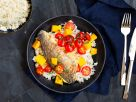 Wolfsbarsch auf Duftreis mit karamellisierten Kirschtomaten und Mango Rezept