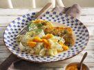 Zanderfilet mit Schwarzwurzelgemüse, Karottendip und Nudeln Rezept