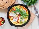 Zucchini-Omelette mit Ziegenkäse und Rucola Rezept